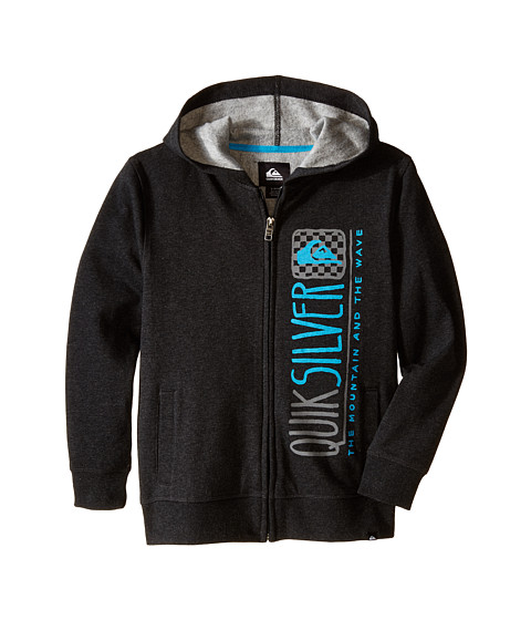 Quiksilver Kids - Triangular Hoodie (Big Kids) (Black Heather) Boy's Sweatshirt
