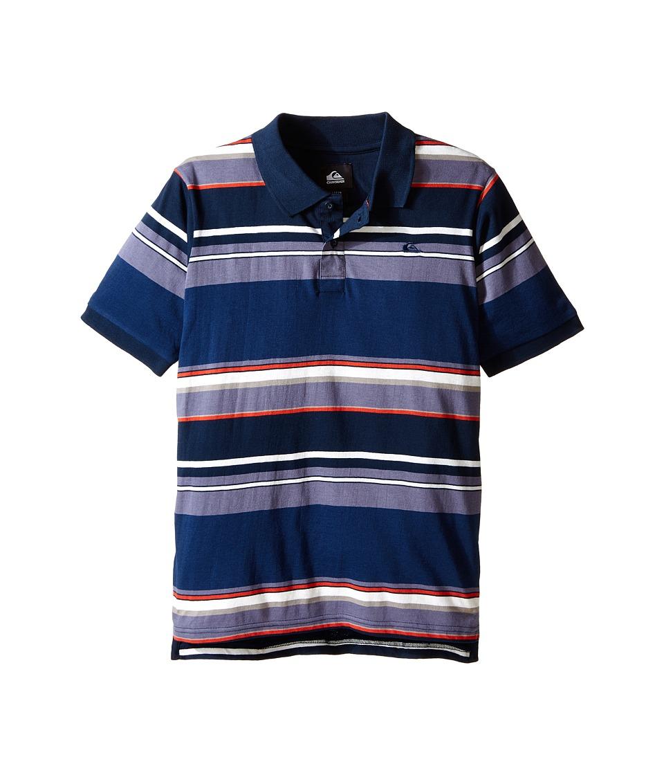 Quiksilver Kids - Decay Stripe Polo (Big Kids) (Navy Blazer) Boy