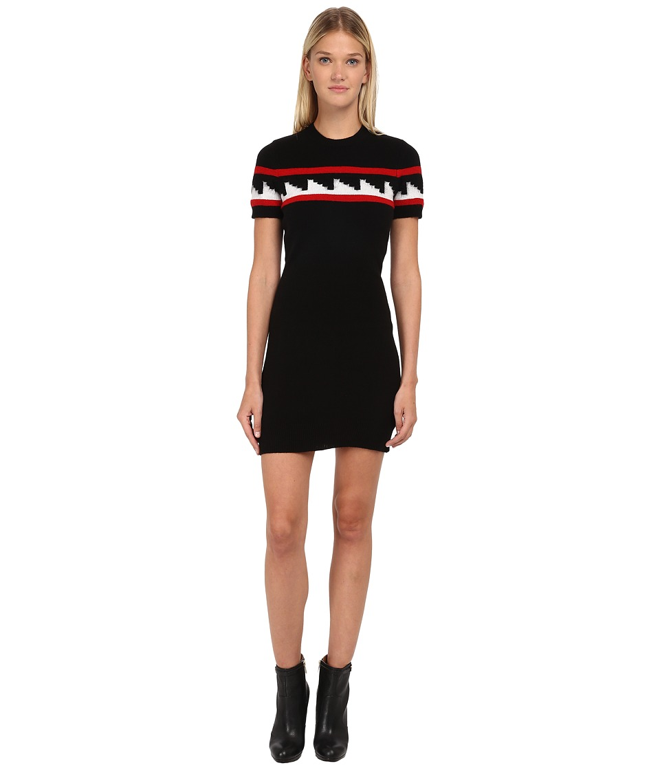 DSQUARED2 - Knit Dress with Geometric Motif (Black/White/Red) Women's Dress