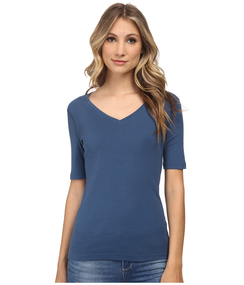 Three Dots - 9 Sleeve V-Neck (Blue Jean) Women's Short Sleeve Pullover