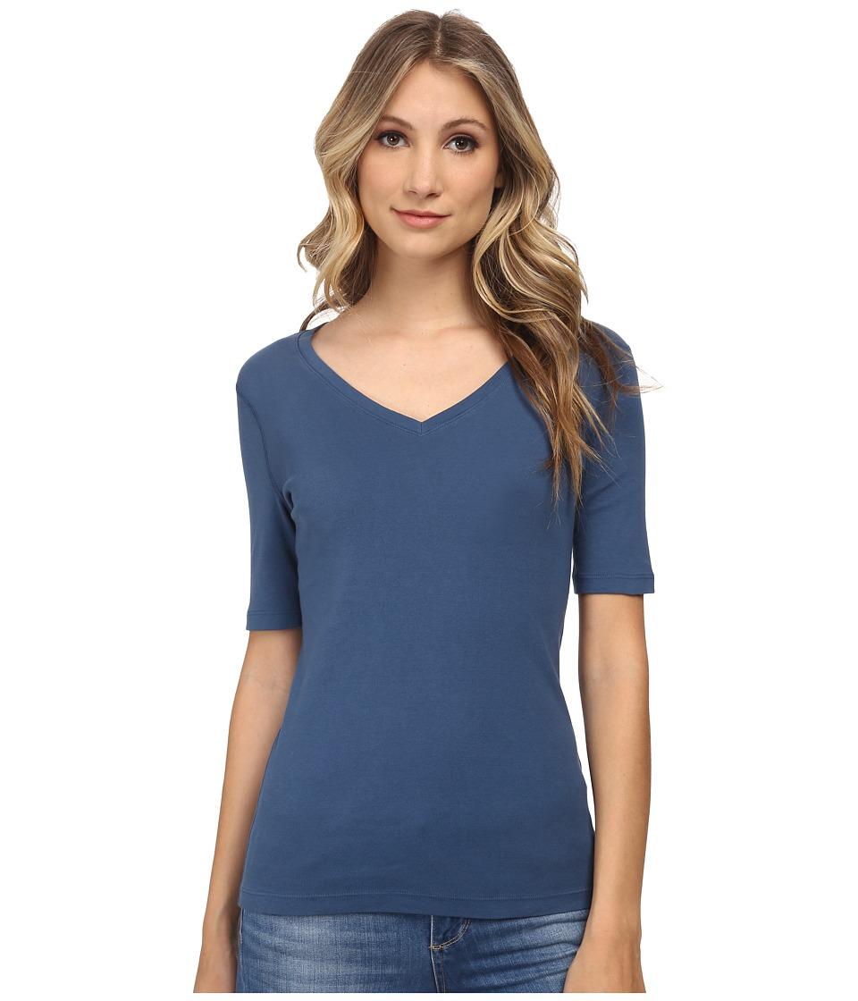 Three Dots - 9 Sleeve V-Neck (Blue Jean) Women's Short Sleeve Pullover