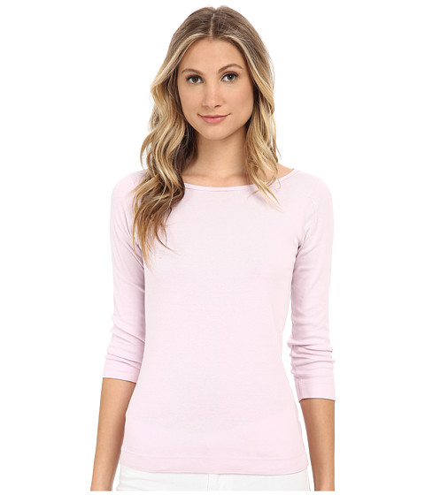 Three Dots - 3/4 Sleeve British Tee (Pink Spritz) Women's Long Sleeve Pullover