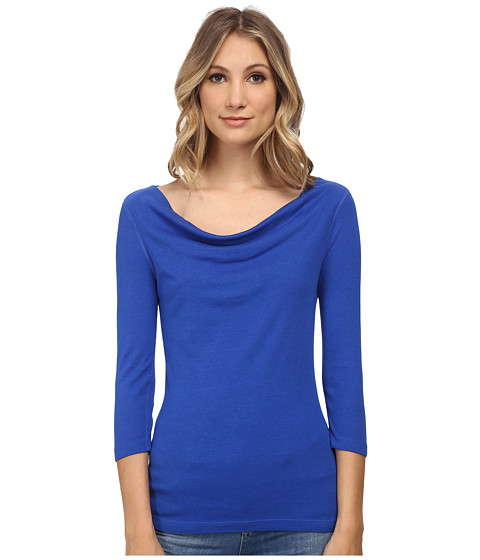 Three Dots - 3/4 Sleeve Cowl Neck Top (Surf Blue) Women