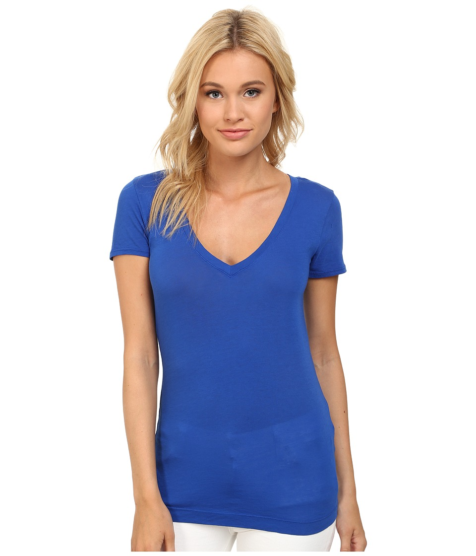 Three Dots - Jersey Colette S/S Deep V-Neck (Surf Blue) Women