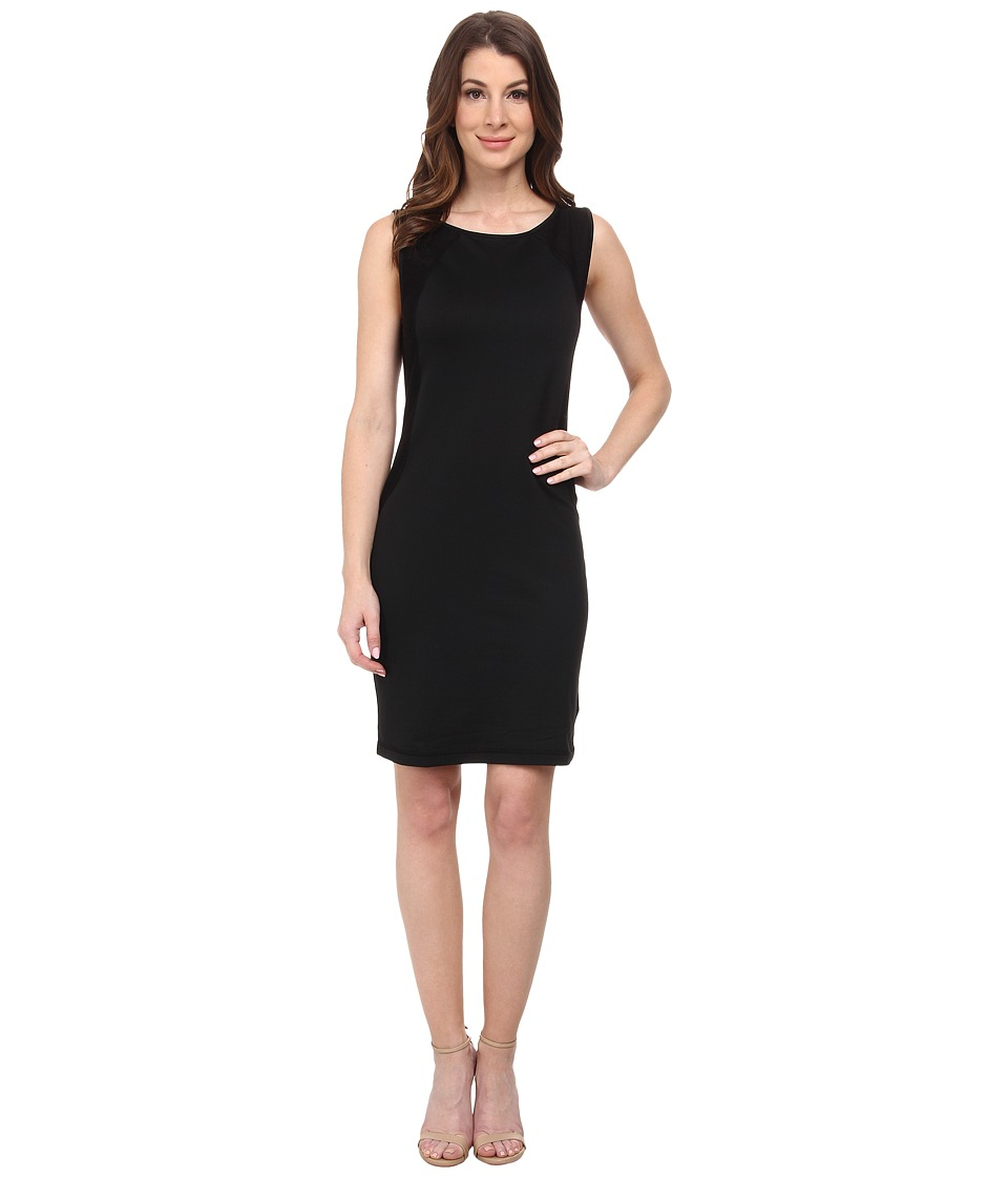 Three Dots - Sleeveless Contrast Dress (Black) Women's Dress
