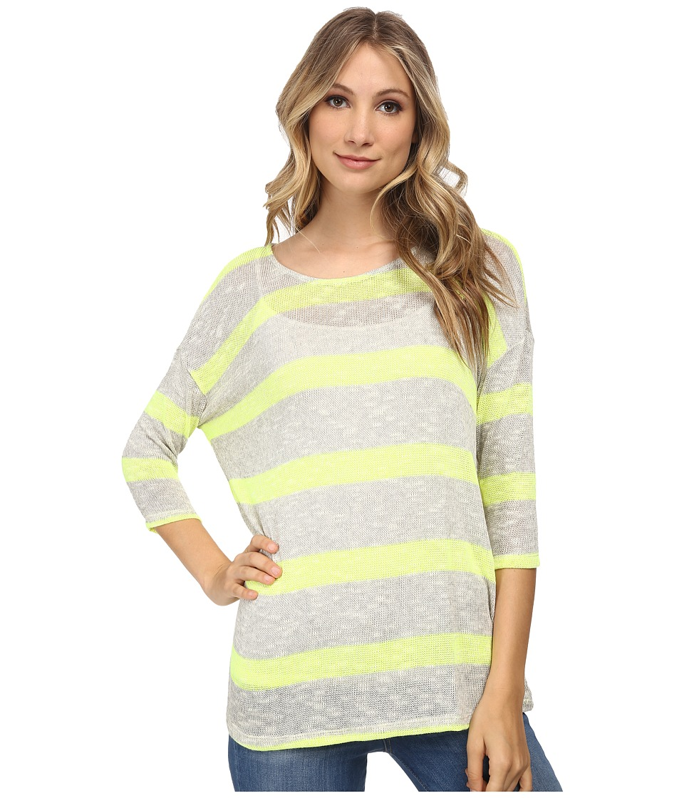 Three Dots - 3/4 Sleeve Dropped Shoulder (Granite/Royal Sage) Women's Sweater