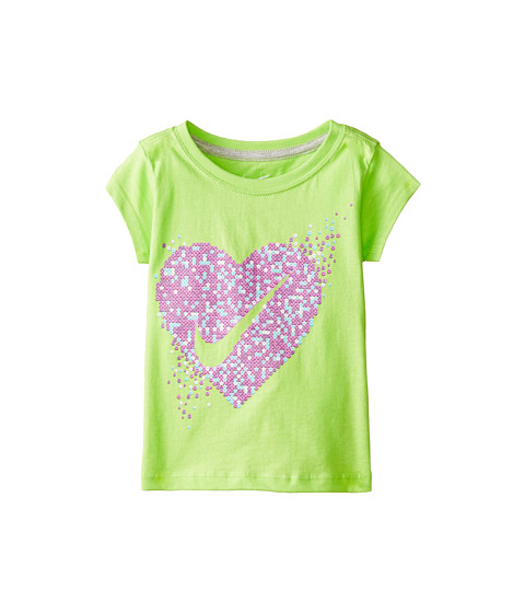Nike Kids - Heart Swoosh Beads Short Sleeve Tee (Toddler) (Key Lime) Girl