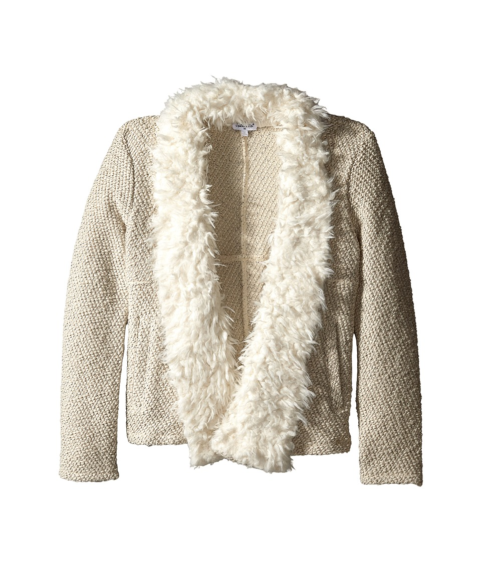 Splendid Littles - Knit Fur Open Jacket (Big Kids) (Cream) Girl's Coat