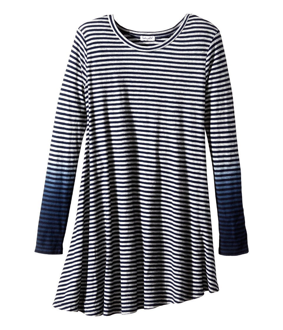 Splendid Littles - Icy Stripes Dress (Big Kids) (Grey Heather) Girl's Dress