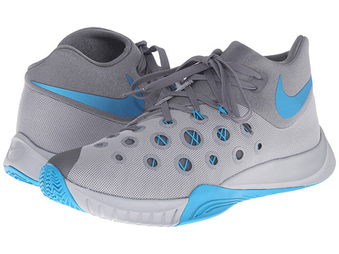 Nike - Zoom Hyperquickness 2015 (Wolf Grey/Cool Grey/Blue Lagoon) Men's Basketball Shoes