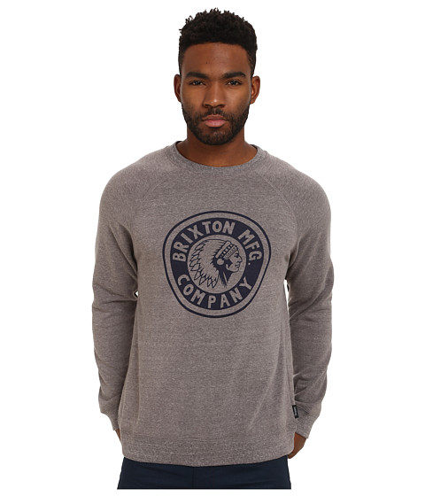 Brixton - Rival Crew Fleece (Heather Grey/Navy) Men's Fleece