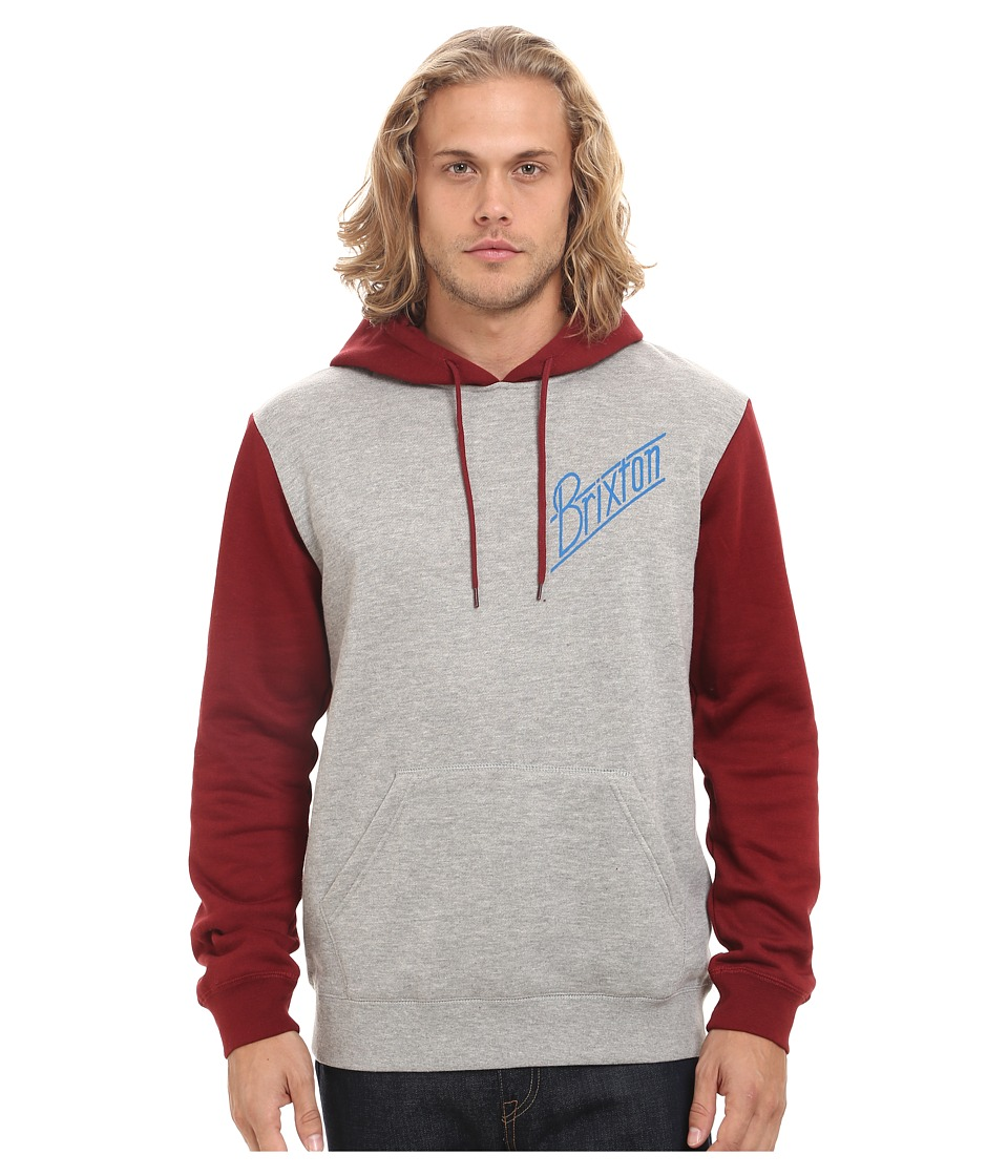 Brixton - Wilson Hooded Fleece (Heather Grey/Burgundy) Men's Sweatshirt