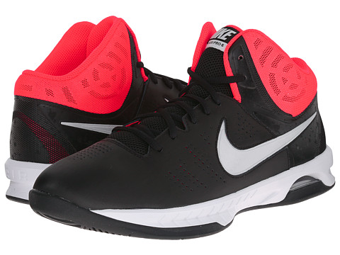 Nike - Air Visi Pro VI (Black/Bright Crimson/University Red/Metallic Platinum) Men's Basketball Shoes