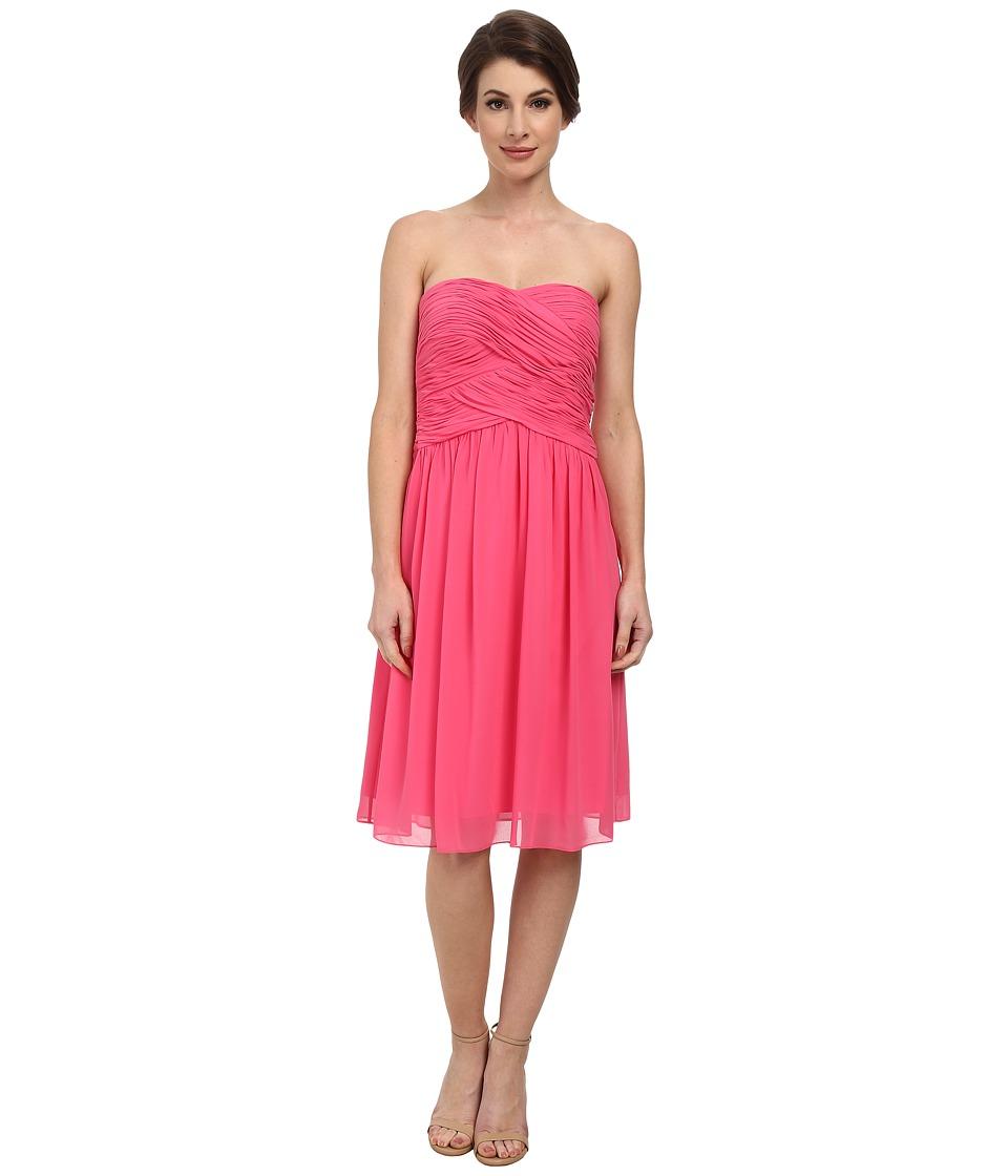 Donna Morgan - Anne Short Strapless Chiffon Dress (Strawberry) Women's Dress