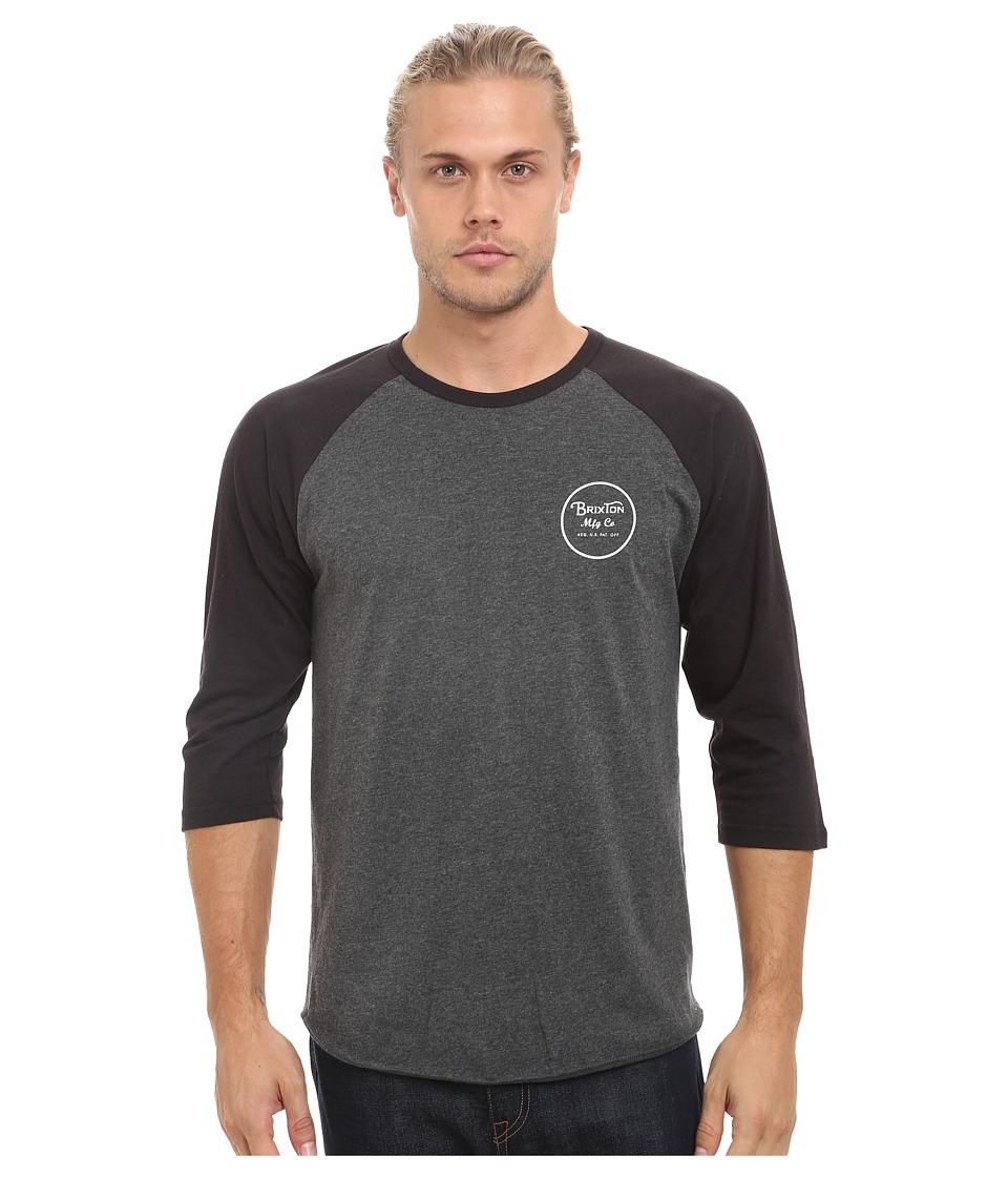 Brixton - Wheeler 3/4 Sleeve Tee (Charcoal Heather/Black) Men's Long Sleeve Pullover