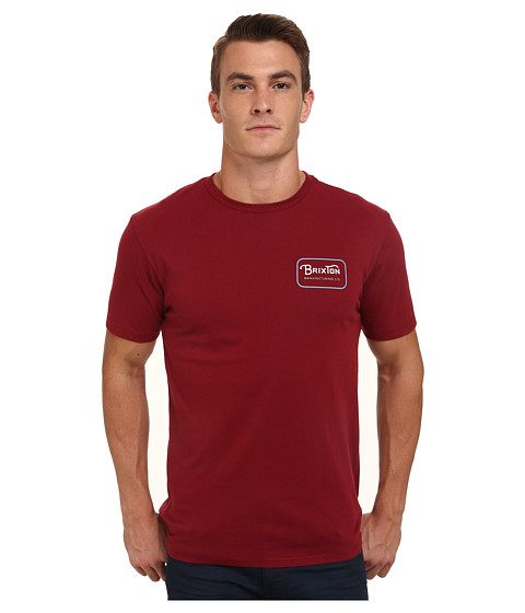 Brixton - Grade Short Sleeve Premium Tee (Burgundy/White) Men