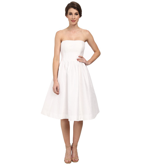 Donna Morgan - Georgina Full Skirt Strapless Shantung (White) Women's Dress