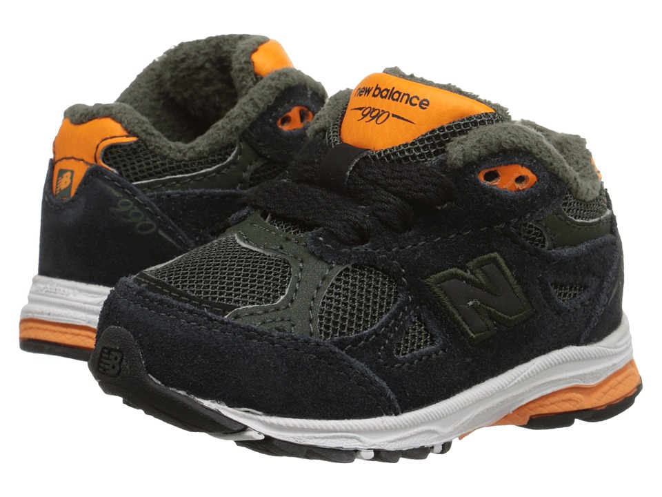 New Balance Kids 990v3 (Infant/Toddler) (Green/Orange) Boys Shoes