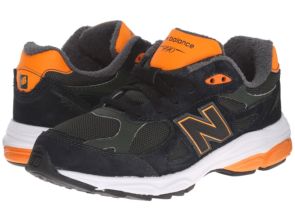 New Balance Kids - 990v3 (Big Kid) (Green/Orange) Boys Shoes