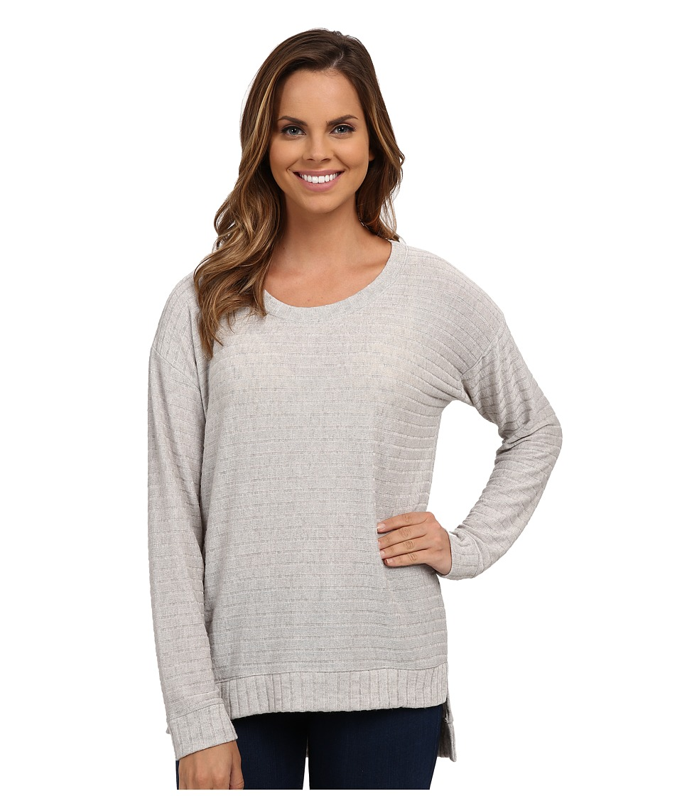 Nally & Millie - Ribbed High-Low Tunic w/ Band Detail (Heather Grey) Women's Clothing