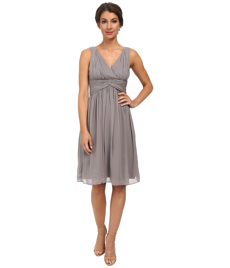 Donna Morgan - Jessie V-Neck Chiffon (Sterling) Women's Dress