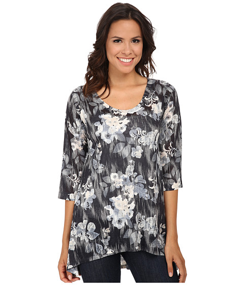 Nally & Millie - Floral Tunic (Black/White) Women's T Shirt