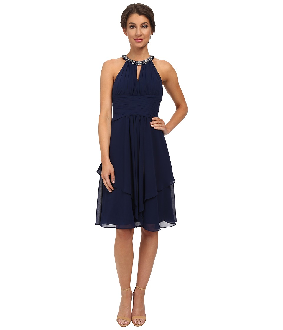 Donna Morgan - Sophie Beaded Halter Dress (Midnight) Women's Dress