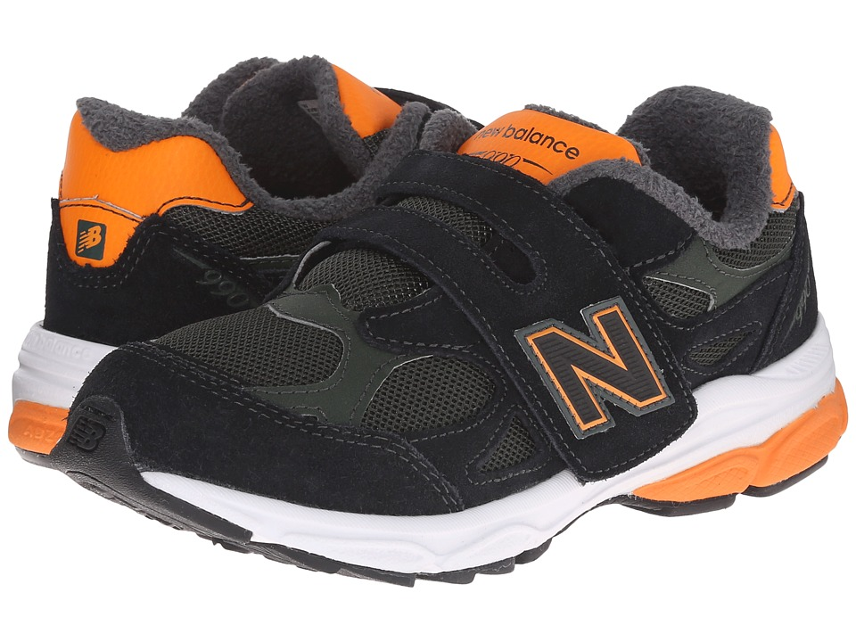 New Balance Kids - 990v3 (Little Kid) (Green/Orange) Boys Shoes