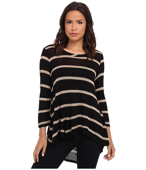 Nally & Millie - 3/4 Sleeve Striped Tunic w/ Pleated Back (Black/Taupe) Women's Clothing