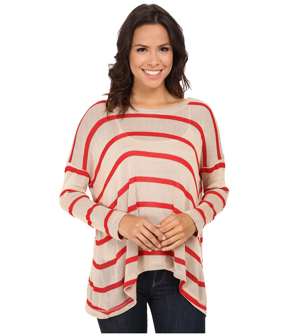 Nally & Millie - Striped Boxy Top (Red/Taupe) Women's Clothing