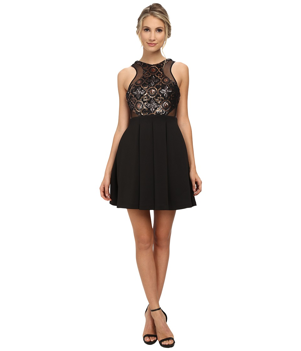 Faviana - Beaded Top Neo Skirt 7660 (Black/Gold) Women's Dress