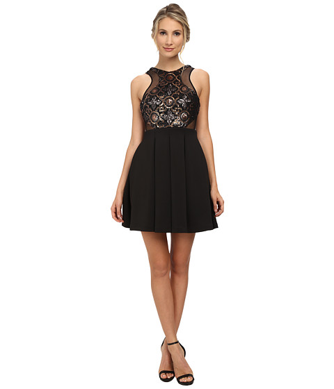 Faviana - Beaded Top Neo Skirt 7660 (Black/Gold) Women