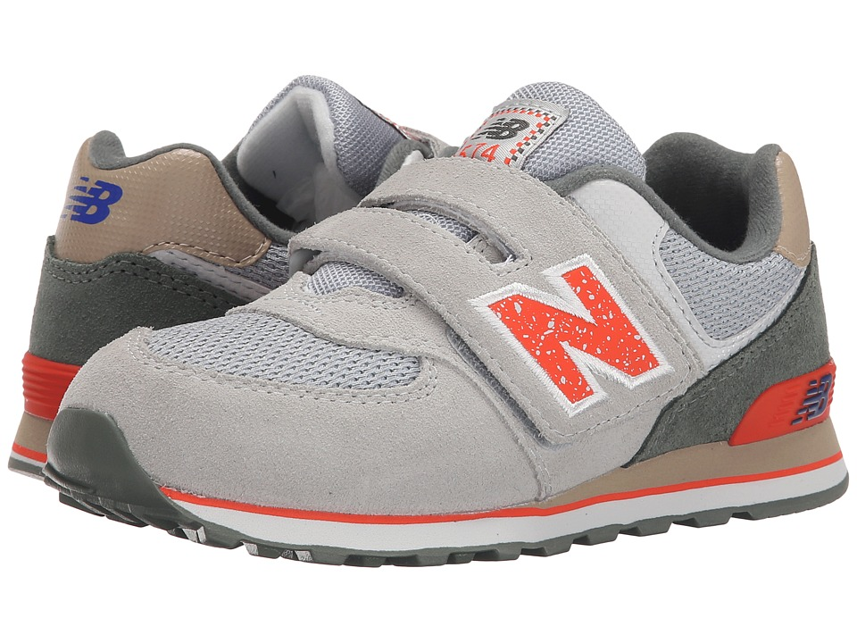 New Balance Kids - 574 Outside In (Little Kid/Big Kid) (Grey/Orange) Boys Shoes