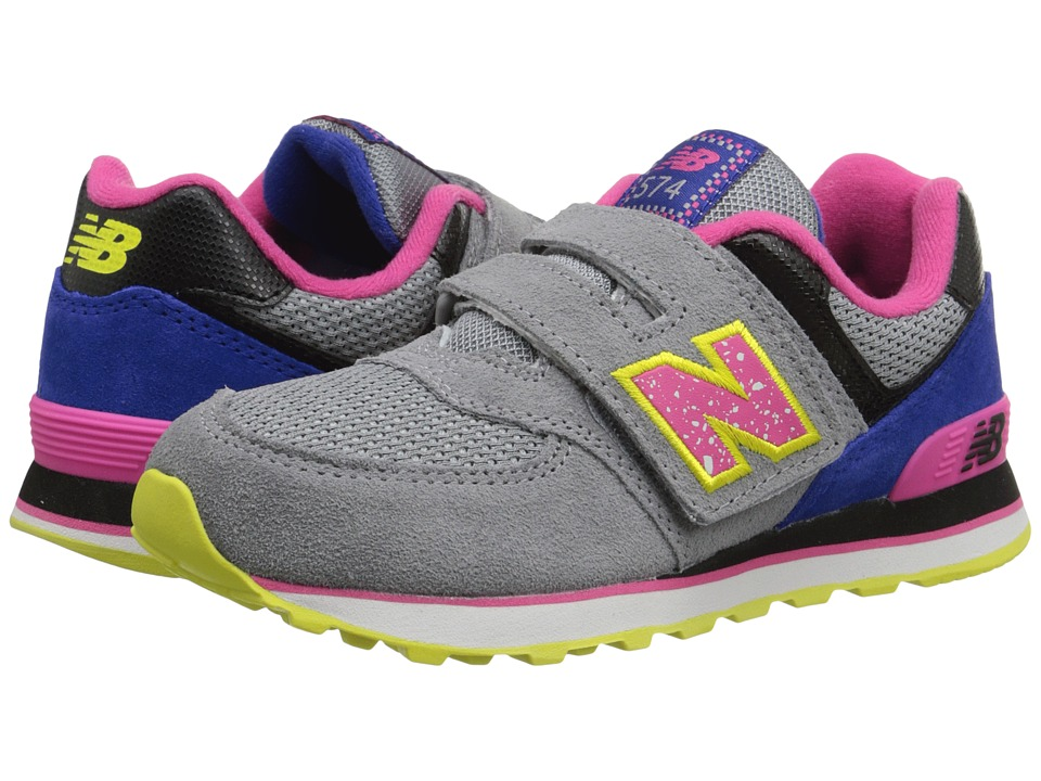 New Balance Kids - 574 Outside In (Little Kid/Big Kid) (Grey/Pink) Girls Shoes
