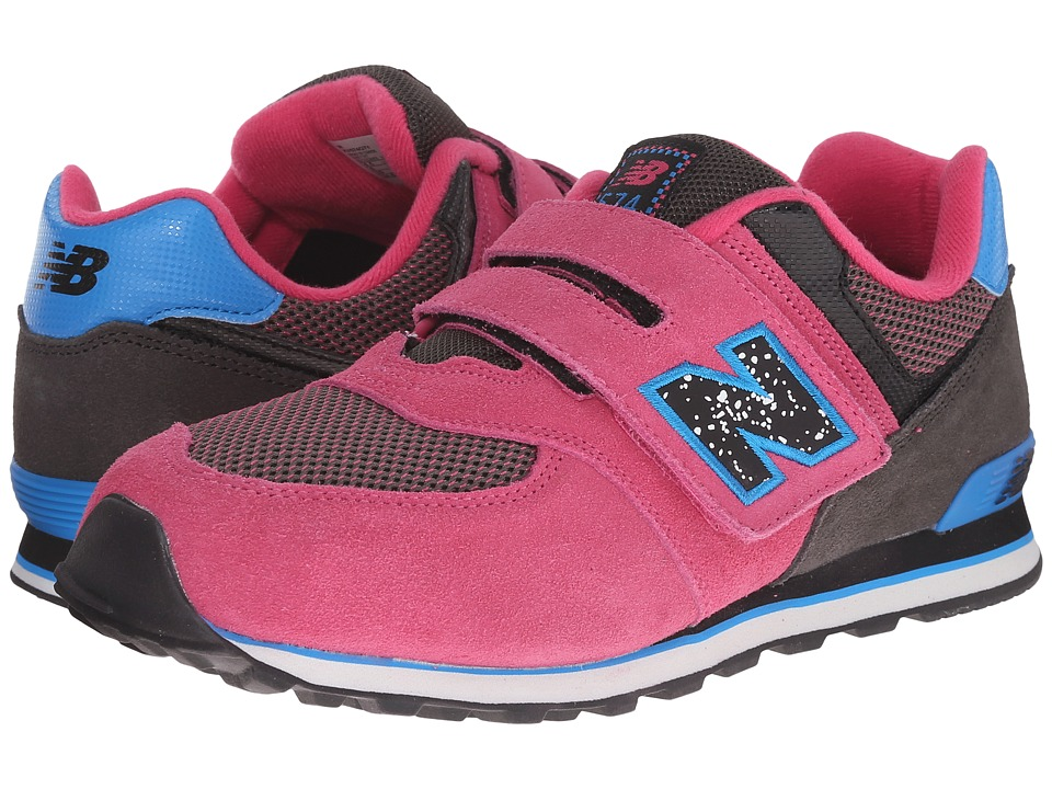 New Balance Kids - 574 Outside In (Little Kid/Big Kid) (Black/Pink) Girls Shoes