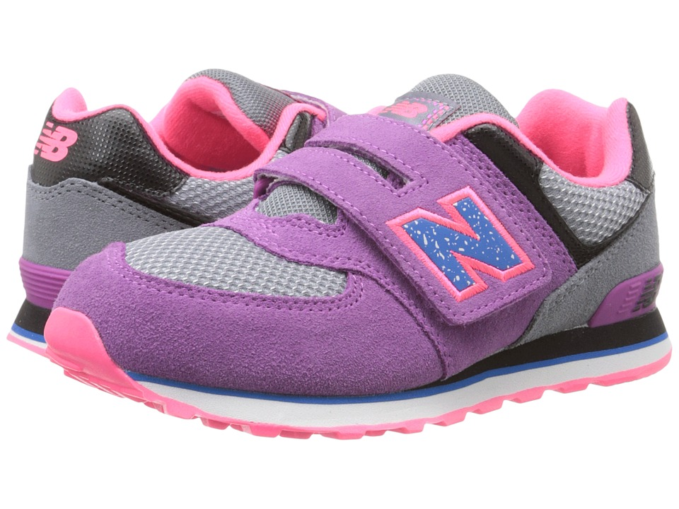 New Balance Kids - 574 Outside In (Little Kid/Big Kid) (Grey/Purple) Girls Shoes