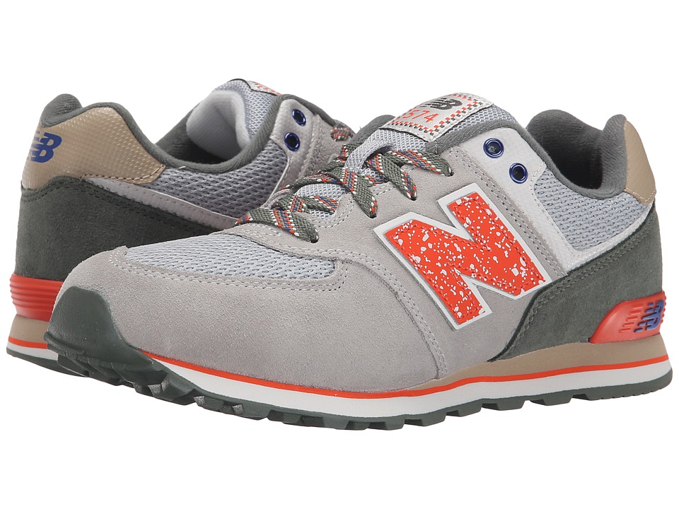 New Balance Kids - 574 Outside In (Big Kid) (Grey/Orange) Boys Shoes