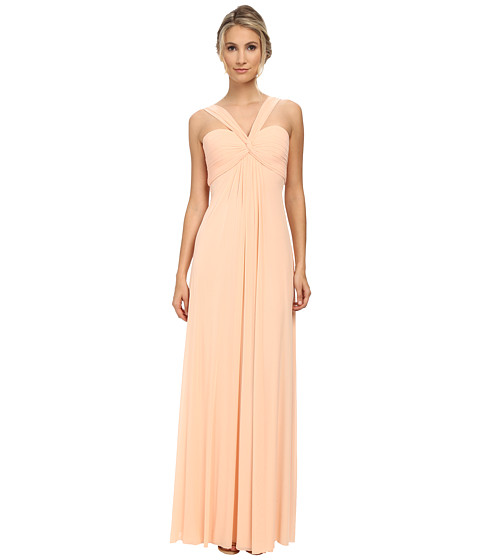 Faviana - Mesh Halter Long Gown 7672 (Soft Peach) Women