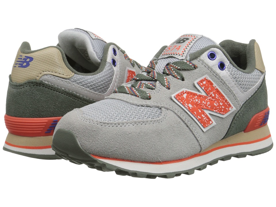 New Balance Kids - 574 Outside In (Little Kid) (Grey/Orange) Boys Shoes