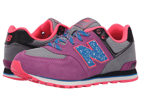 New Balance Kids - 574 Outside In (Big Kid) (Grey/Purple) Girls Shoes