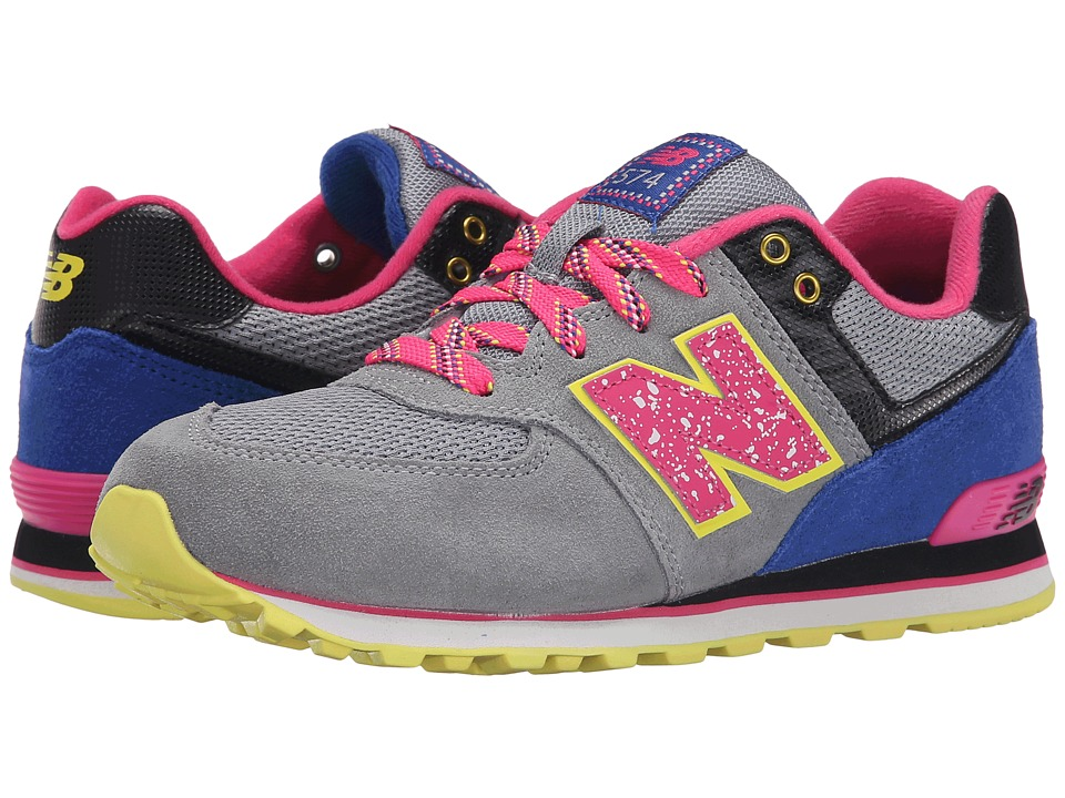 New Balance Kids - 574 Outside In (Big Kid) (Grey/Pink) Girls Shoes