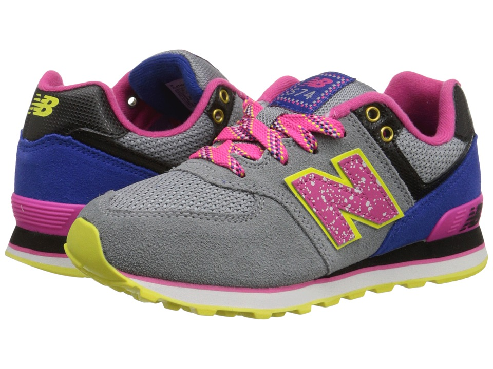 New Balance Kids - 574 Outside In (Little Kid) (Grey/Pink) Girls Shoes
