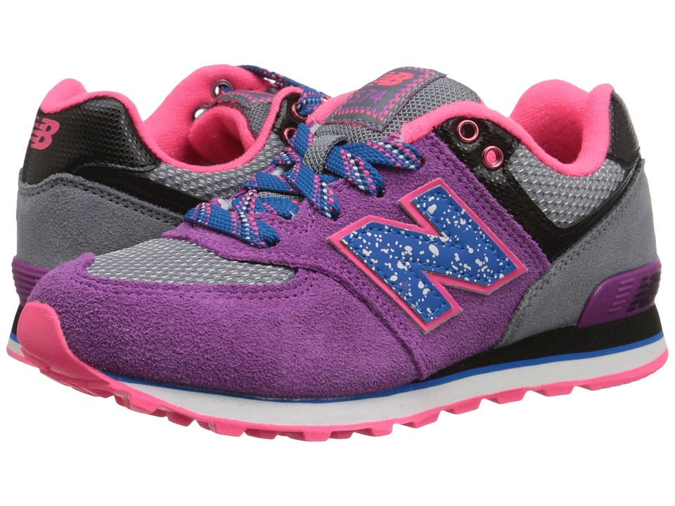 New Balance Kids - 574 Outside In (Little Kid) (Grey/Purple) Girls Shoes