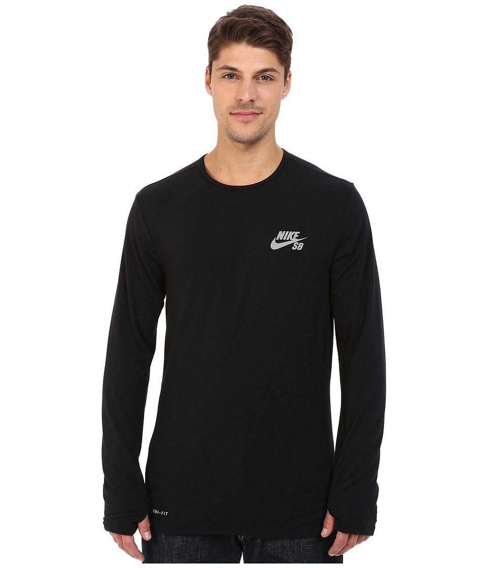 Nike SB - SB Skyline Dri-FIT Cool Long Sleeve Crew (Black/Reflective Silver) Men's Long Sleeve Pullover