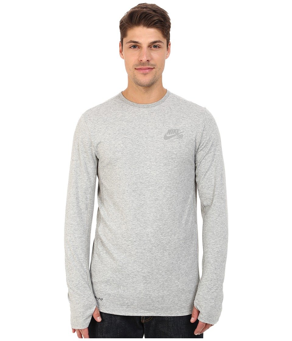 Nike SB - SB Skyline Dri-FIT Cool Long Sleeve Crew (Dark Grey Heather/Reflective Silver) Men's Long Sleeve Pullover