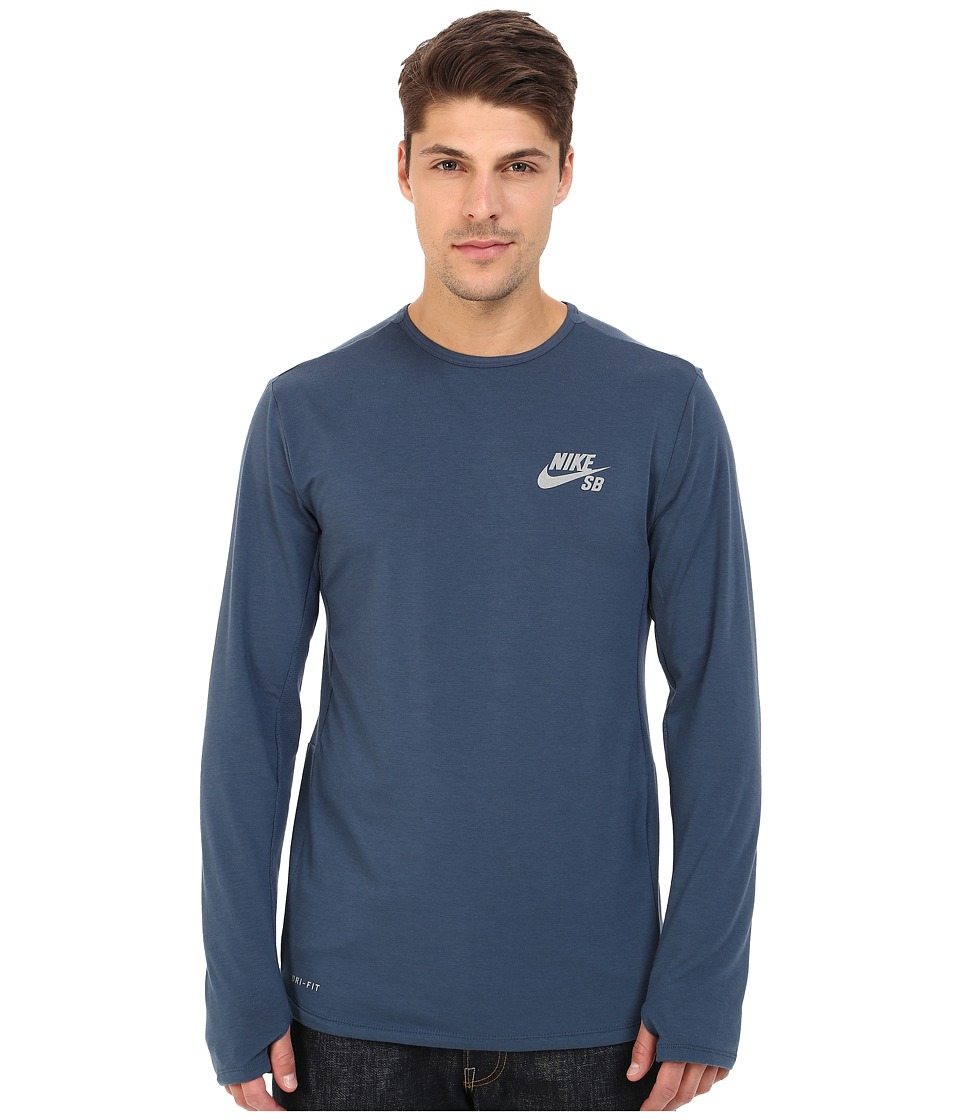 Nike SB - SB Skyline Dri-FIT Cool Long Sleeve Crew (Squadron Blue/Reflective Silver) Men's Long Sleeve Pullover