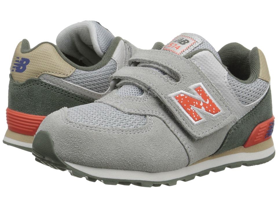 New Balance Kids - 574 Outside In (Infant/Toddler) (Grey/Orange) Boys Shoes