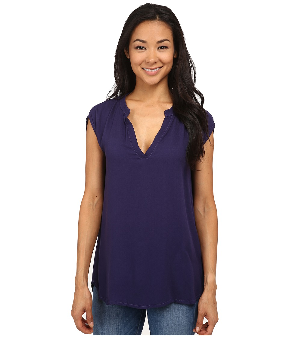 Allen Allen - Rayon Crepe Sleeveless Split Neck (Limousine) Women's Blouse