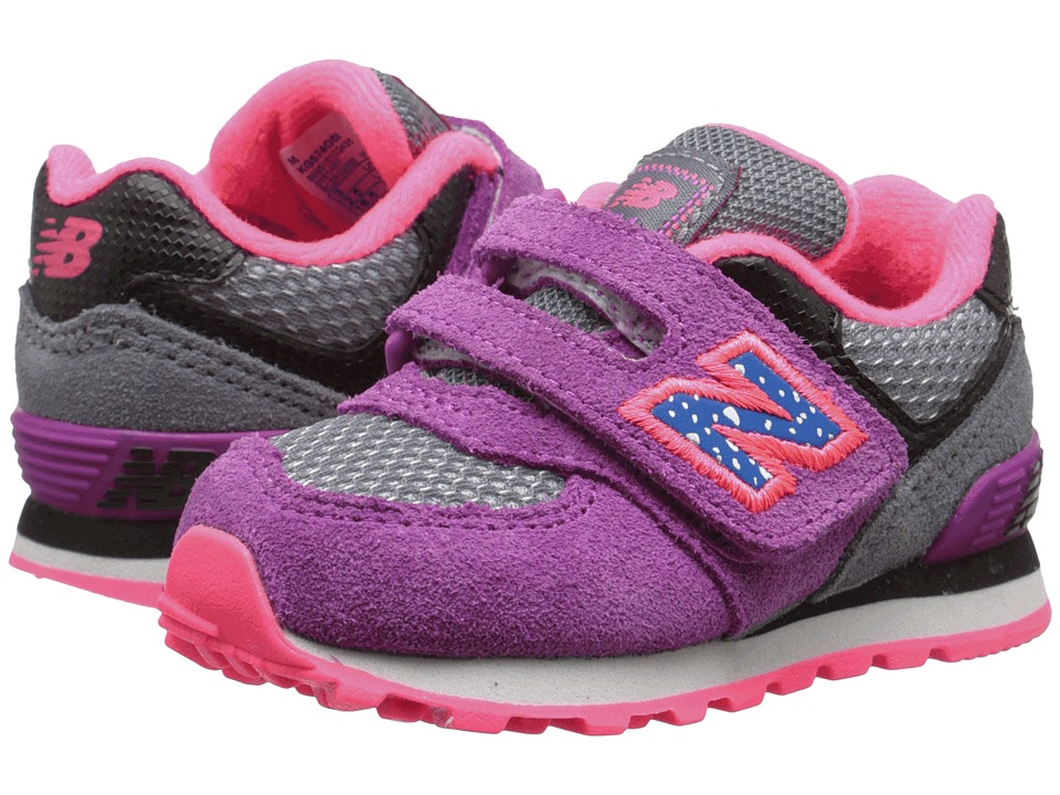 New Balance Kids - 574 Outside In (Infant/Toddler) (Grey/Purple) Girls Shoes