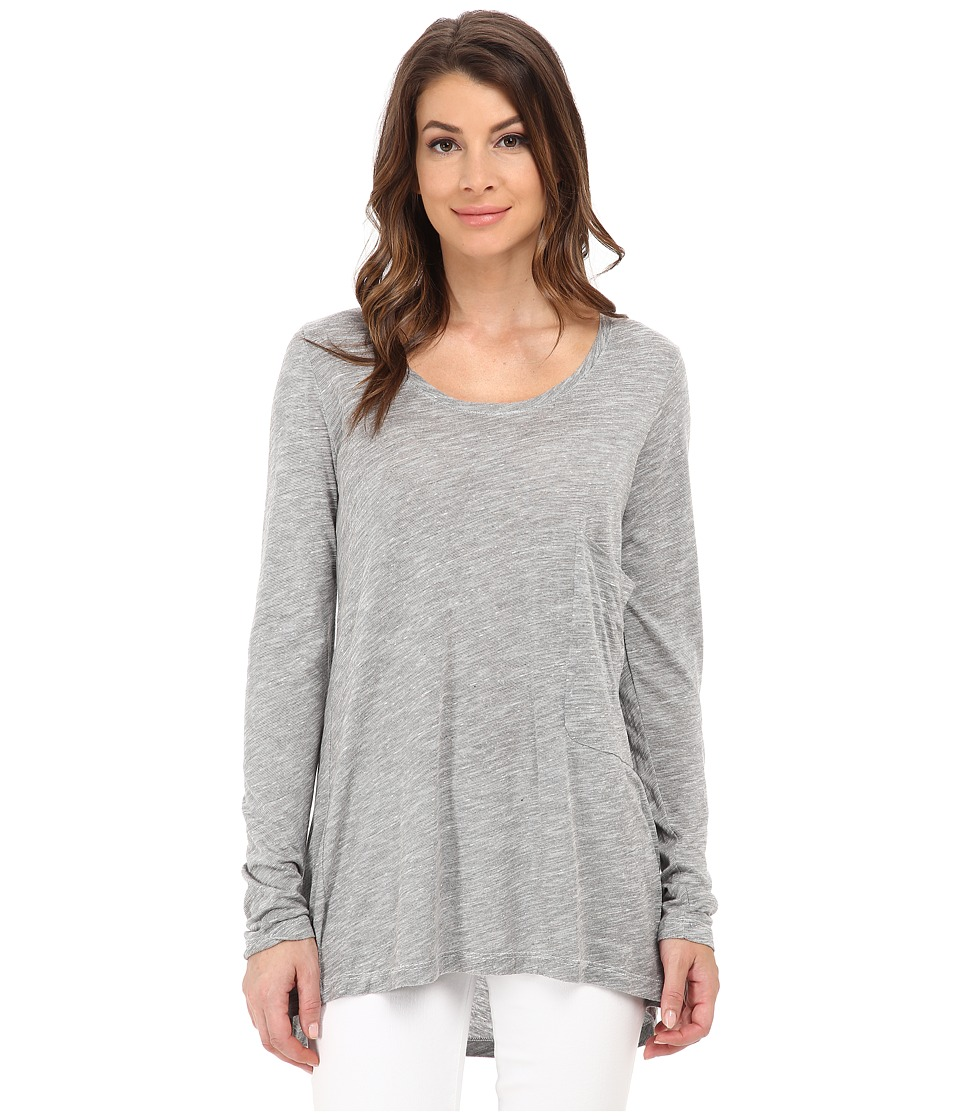 Allen Allen - Long Sleeve Big One-Pocket Tee (Grey Heather) Women